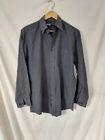 Mens Navy Blue Jeff & Co White Blue Check Long Sleeve Shirt Size Small #94C5