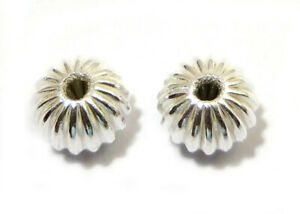 60 PCS 10X7MM CORRUGATED RONDELLE BEAD STERLING SILVER PLATED 729