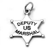 Us Marshall Badge Charm 925 Sterling Silver Deputy
