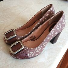 🌹FOSSIL🌹NEW QUIRKY DESIGNER FABRIC BUCKLE CHUNKY HIGH HEEL COURT SHOE UK 6