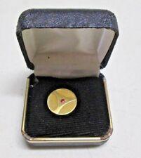 Vintage Men's Tie Tack 10K GF Gold Filled Round Ruby Red Stone in Original Box