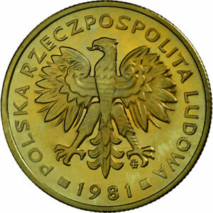 [#689291] Coin, Poland, 2 Zlote, 1981, Warsaw, MS(65-70), Brass, KM:80.1