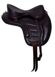 """NEW SOFT LEATHER TREELESS HORSE SADDLE BROWN COLOR SIZE FIT TO (16""""-17"""") SOFTY"""