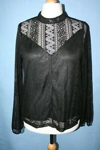 BNWT SIZE 16 BLACK LACE HIGH NECK TOP WITH BACK BUTTON TRIMS      C212