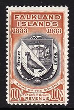 FALKLAND ISLANDS 1933 CENTENARY 10/- BLACK AND CHESTNUT SG 137 MINT.