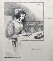 Viggo Jastrau 1857-1946 Disegno Vergine Rigborg Scrive Diario Egeskov