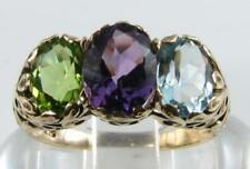 BIG 9K 9CT GOLD AMETHYST BLUE TOPAZ PERIDOT ART DECO INS 3 STONE RING FREE SIZE