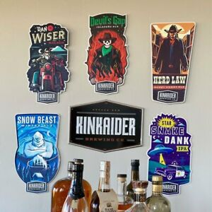 Set of 6 Kinkaider Brewing Co Tin Tacker Beer Metal Beer Sign Collection