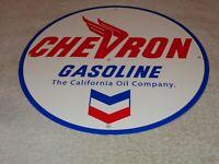 "VINTAGE CHEVRON GASOLINE CALIFORNIA OIL COMPANY 11 3/4"" PORCELAIN METAL GAS SIGN"