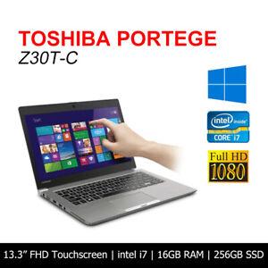 """Toshiba Portege Z30T-C i7 4600U 16GB 256GB SSD 13.3"""" HD Touch  Laptop Win10 AU"""