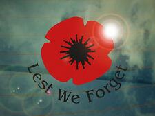 Remembrance Poppy Lest We Forget Car Decal/Sticker  *WW2*WW1*Memorial*
