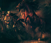 Art Oil painting Chinese ancient General with Frightened horses at night canvas