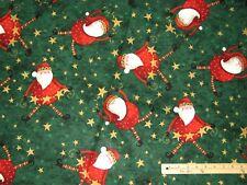Dancing Santa Leopard Skin Hat Christmas Fabric by the 1/2 Yard