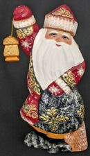 Jolly Old Saint Nick Russian Handcarved & Painted Golden Uzor Santa Claus #4936
