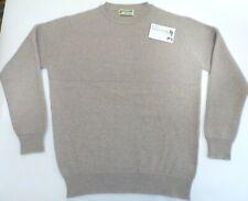 """Glen Oak crew neck 4 ply chunky knit Cashmere jumper sweater 42"""" UK 18 beige"""