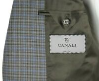 $1595 CANALI 1934 Brown Grey Light Blue Check Wool Coat Jacket 48 R (fits 46 R)