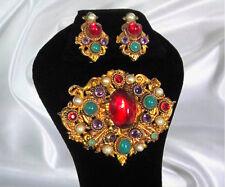 Czech Neiger Bohemian Peking Glass Ruby Amethyst Pearl 4 Level Brooch & Earrings