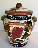 Large Made For Nonni's Cookie Jar Container Grapevine Fruit Great Condition