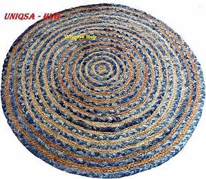 Rug Jute & Denim Handmade Reversible Room Area Rug Modern Carpet Rug Living Rug