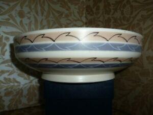 Poole Pottery Freeform Large Bowl Leaf Design Hand Painted 1950's VGC