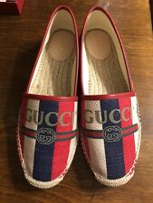 ff06f693ce0 AUTHENTIC GUCCI LOGO SYLVIE CANVAS ESPADRILLE FLATS  562 NEW