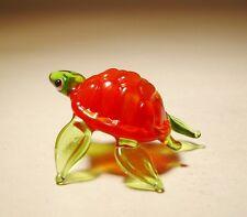 "Blown Glass ""Murano"" Figurine Small Red and Green TURTLE Tortoise"