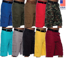 Mens Cargo Shorts Casual Multi Pocket Twill Breathable Belted Shorts Outdoors