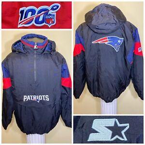 Starter New England Patriots NFL 100th Breakaway Pullover 3/4 Zip Jacket Large
