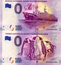 TAAF Marion Dufresne et manchots, Paire mêmes N°, 2019, Billet Euro Souvenir