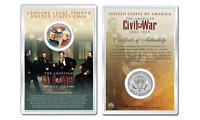 American CIVIL WAR GENERALS GRANT LEE JFK Half Dollar Coin w/PREMIUM 4X6 DISPLAY