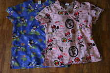 Lot of 2 Disney Scrub Tops Medium Mickey Mouse & Minnie Mouse Hawaiian Holiday