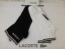 LACOSTE Low Cut Ankle Sock AU8 White Black Size 6 Trainer 2pk Sport Socks BNIP