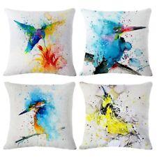 *Throw Pillow Covers Decorative Pillowcases (4 pieces set) (Oil painting-Bird)