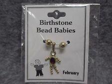 February Baby Birthstone Bead Babies Necklace Pendant Gold Tone & Rhinestone