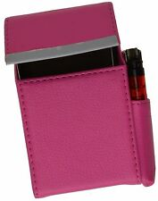 Hot Pink Cigarette Hard Case Leather Flip Top Lighter Holder Unisex