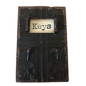 "Key Rack- Antiqued metal, Tin Tile Look, H 8"" X W 5"", New"