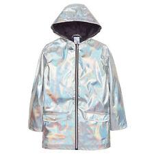 Girls Holographic Iridescent Shiny Silver Raincoat Hooded Jacket Childrens Kids