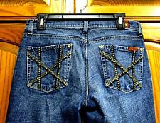 7 FOR ALL MAN KIND MIA BOOT CUT STUDDED LOW RISE JEANS SZ 28/33 3/4 MED WASH USA
