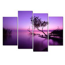 Modern Art Print on Canvas Wall Art Home Decor Purple Landscape Tree Lake Framed
