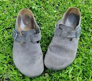 BIRKENSTOCK Boston Oiled Leather Sandal Cogs Iron Gray Men's 43 10 10.5