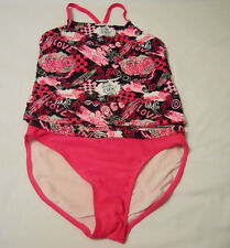 2-Piece Op Girl Swim Suit Tankini Set Swimwear Sz XL 14-16 Pink Multi UPF 50+
