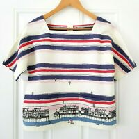 Laura Ashley Linen Pier Promenade Blouse Top UK 8 Boats Brighton Buttons