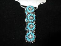 GUESS NWT Statement Bracelet Silver Tone Turquoise Beaded Rhinestone Stretchy