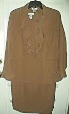 Women's JESSICA LONDON 2-Pc Vintage Dress Jacket Ruffle Brown Strip Sz 18W NICE!