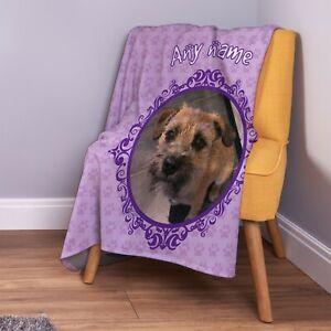 Personalised Purple Dog Photo Design Soft Pet Fleece Throw Blanket