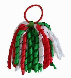 Christmas Hair Bow Korker Streamer Elastic Bobble Red White Green UK Seller 🇬🇧