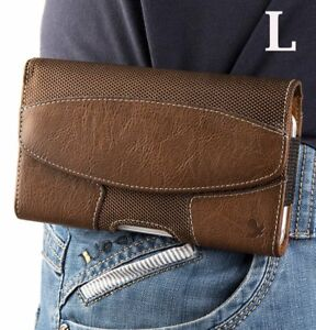 Motorola Moto E6 - BROWN Suede Leather Pouch Holder Belt Clip Holster Case Cover