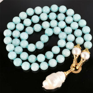 Natural Aquamarine white Pearl Gemstone 18k gold Knot Necklace Ms gift 22inch