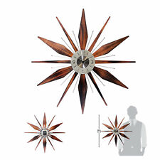 Starburst Wall Clock Mid Century Analog Metal Wood Retro Vintage Home Decor