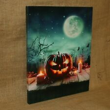 Lighted Canvas Jack o Lantern Pumpkins Candles Moon Bats Fall Autumn Halloween